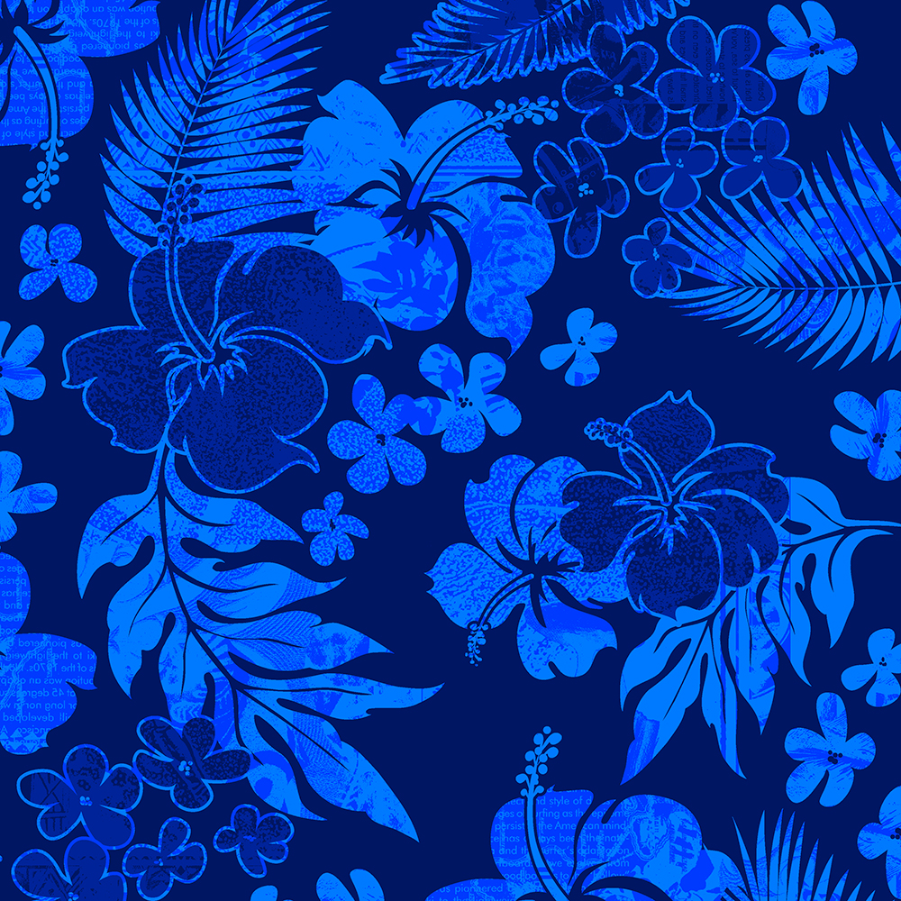 Kona Times Hibiscus Hawaiian Print - Royal