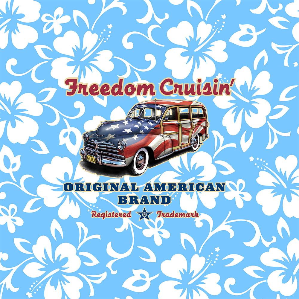 Freedom Cruisin' Patriotic Hawaiian Surf Woody - Sky Blue