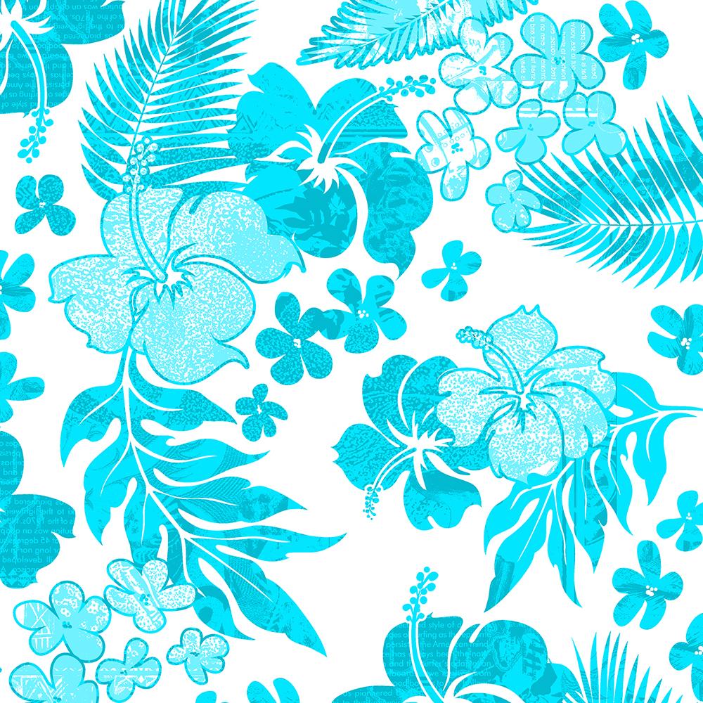 Kona Times Hibiscus Hawaiian Print - Aqua