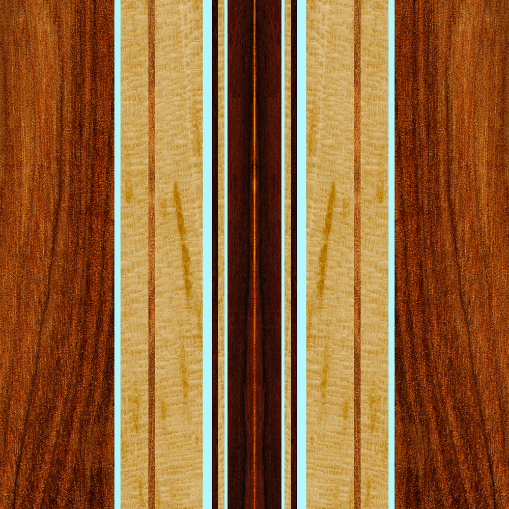 Nalu Hou Faux Koa Wood Surfboard - Aqua