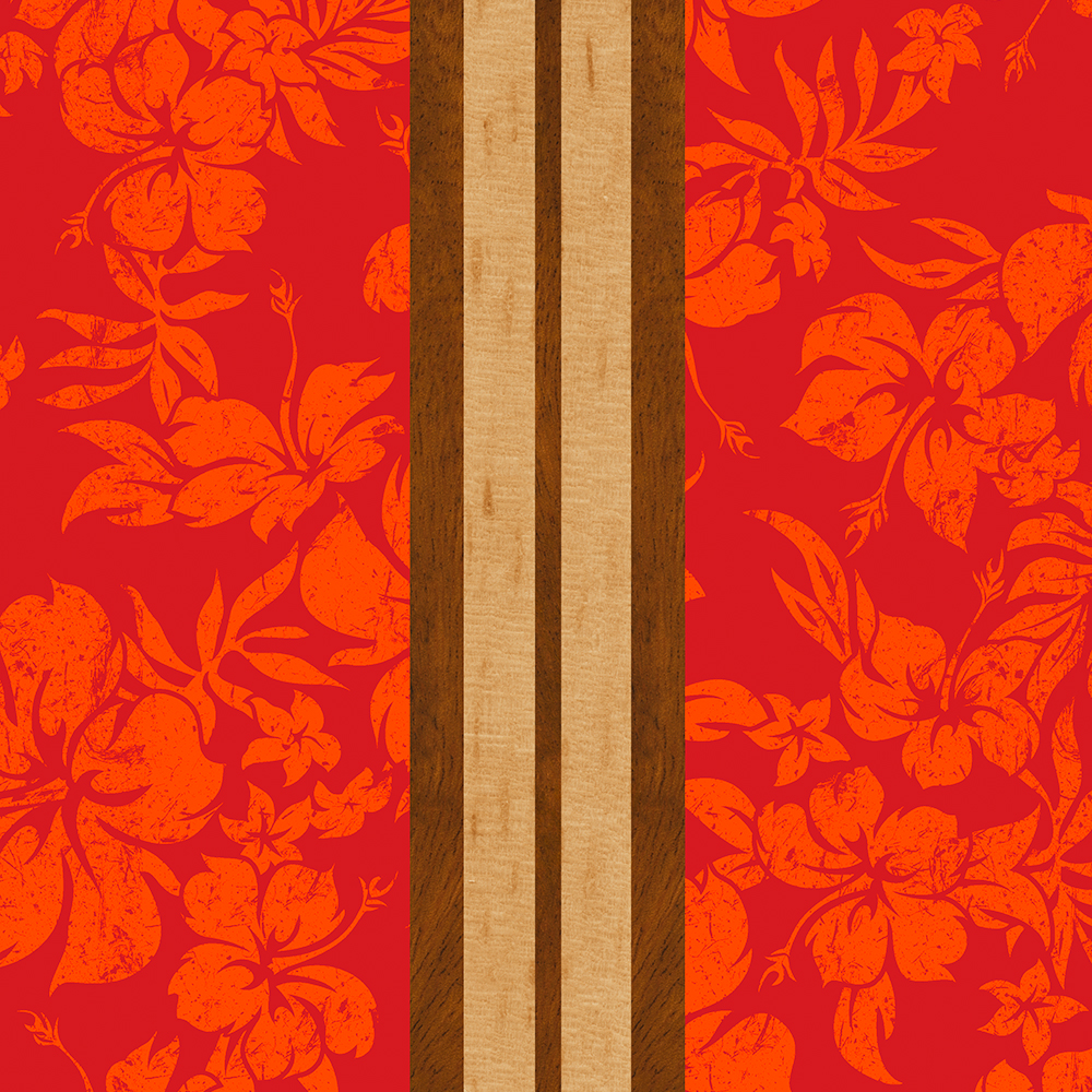 Sunset Beach Hawaiian Faux Koa Wood Surfboard - Red