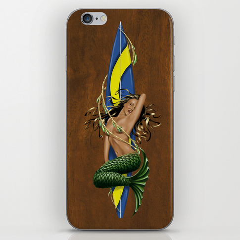 Shown above: Our Mermarilyn mermaid with surfboard skin.  Click the image above for details.
