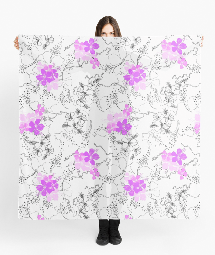 Midnight Garden Scarf in Violet on White