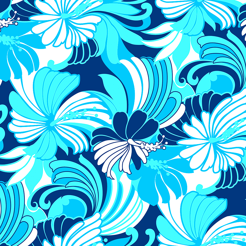 Hibiscus Jungle Hawaiian Tropical Floral - Navy, Turq and Aqua