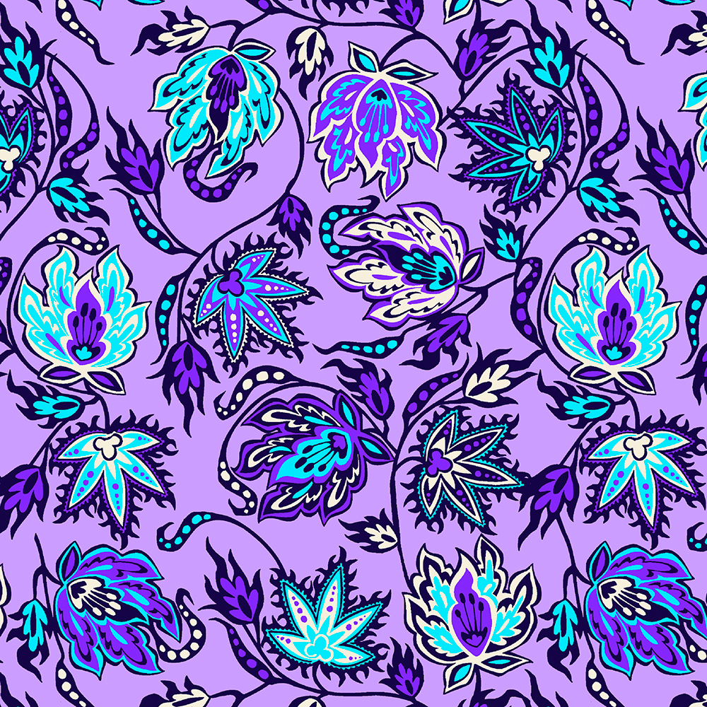 Protea Batik Hawaiian Tropical Floral - Lilac and Turq