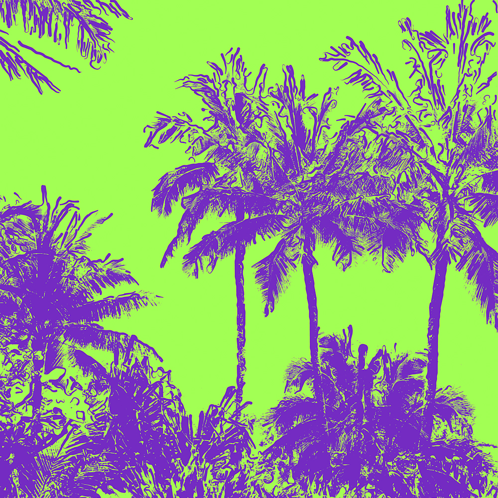 Makena Beach Hawaiian Sketchy Palms - Purple and Lime Green