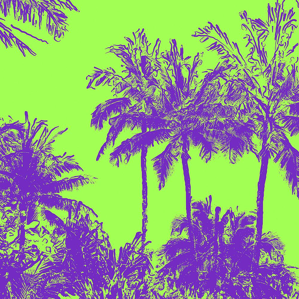 Makena Beach Hawaiian Sketchy Palms - Purple and Lime Green