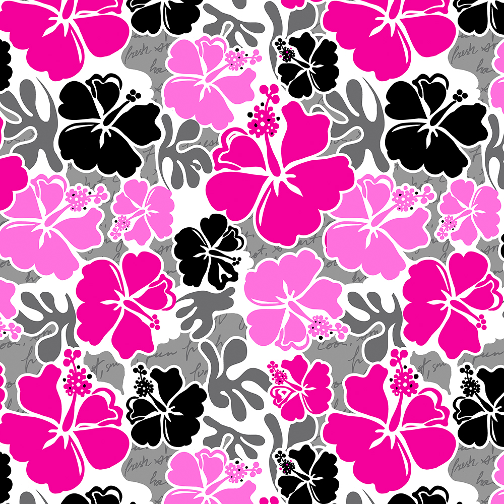 Akahai Hawaiian Hibiscus Tropical Floral - Pink and Black