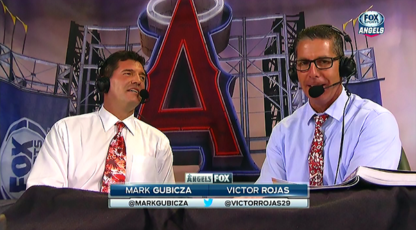 Angels' TV broadcasters Mark Gubicza and Victor Rojas looked sharp in our Hawaiian neckties. Mark wore our Napili Bay tie, and Victor thrilled us by proudly wearing our Malia Hibiscus Pareau Print tie.