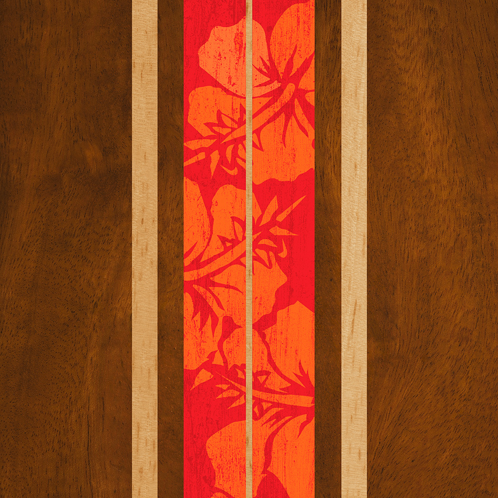 Copy of Haleiwa Surfboard Faux Wood Phone Case in Red