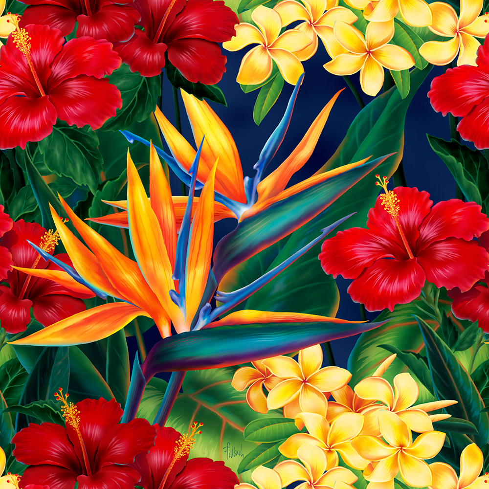 Tropical Paradise Hawaiian Illustrated Phone Case