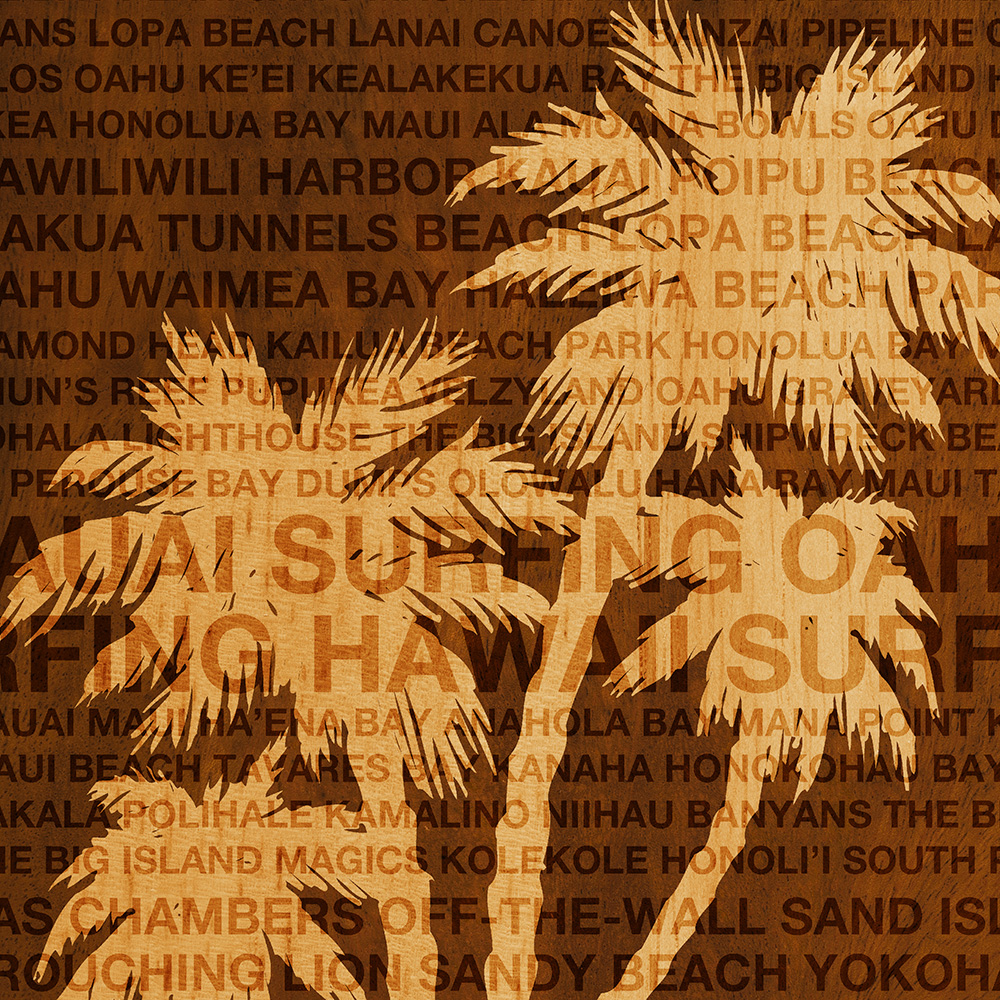Surfing Hawaii Palm Trees Faux Wood Phone Case