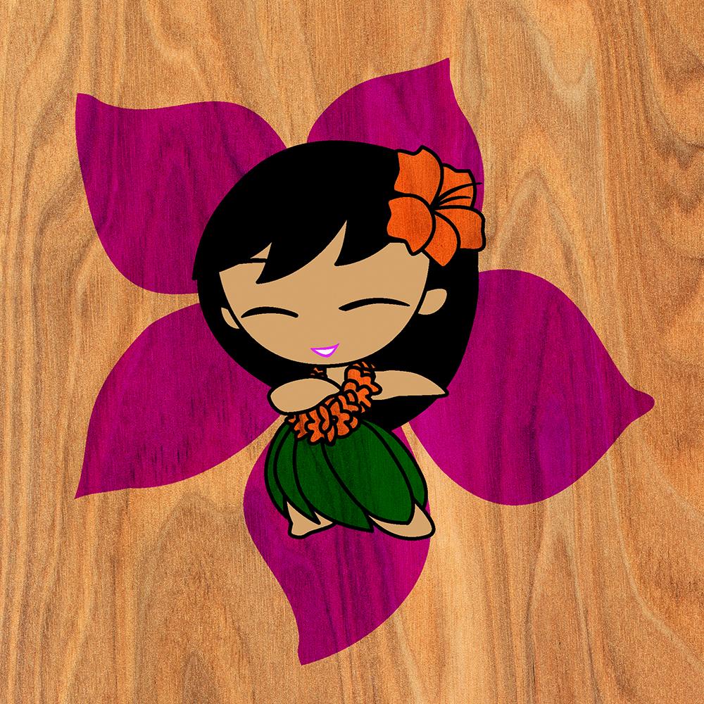 Aloha Honeys Hawaiian Hula Girl Faux Wood Phone Case