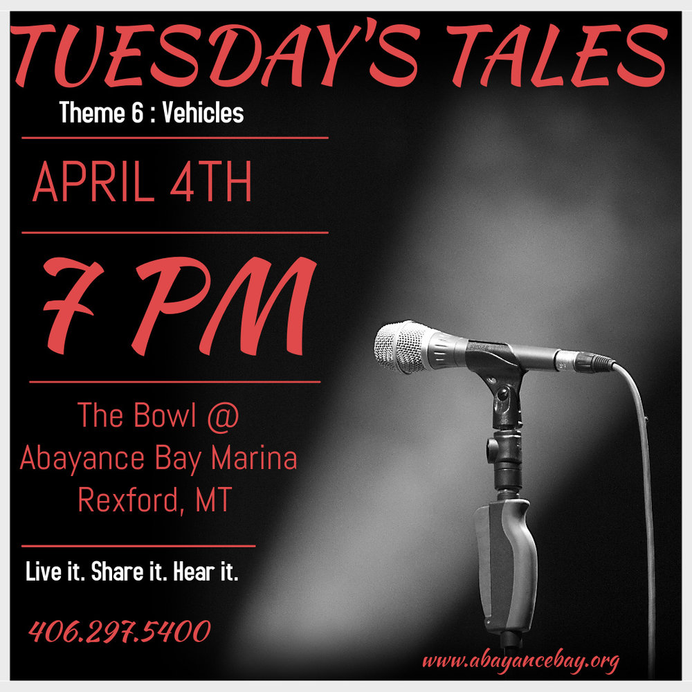 Tuesday's Tales begins April 4th at 7:00 PM. An evening to share stories and and/or opportunity to listen from our community and those abroad. 1st Tuesday of every month. Each evening with a theme based premise but not confined by particulars. Moderated and mic'd with an expectation for the crowd to listen. Timed but not contained, captivate the crowd and carry on. Live it. Share it. Hear it. To a larger more inquisitive crowd than you may have ever imagined. Theme 5: Bad Day Share your story before it's lost and forgotten. See you there on April 4th!