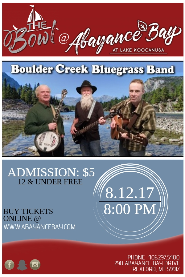 We are some of the best Foot stompings', toe-tapping, get yer Mama dancing' bluegrass music. Fire up the wagon and come party with Dave Blackburn, Billy Powell, and Richard Young. We will be playing at one of the best venues in North West Montana, The Bowl at Abayance Bay Marina. The Bowl is on the shore of Lake Koocanusa in Rexford, MT. Join us for this bluegrass musical event, see you all there!