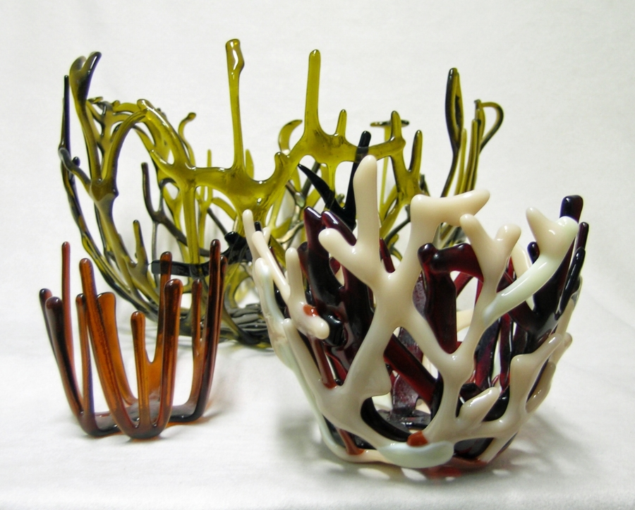 Fused and kiln-formed glass Coral Webs by Laura McCracken