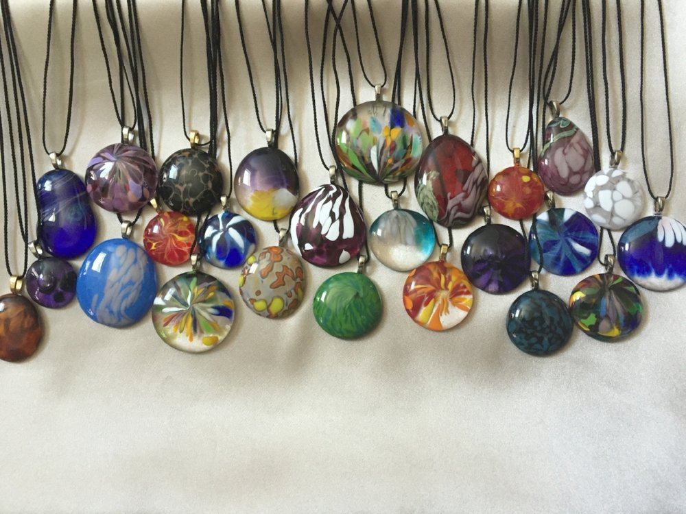 Pendants made from Hot Glass remnants.