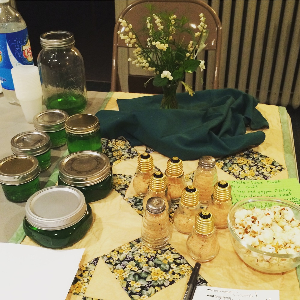 Swapper Carol's pretty display included Creme de Menthe made from mint growing in her yard and Chili-Lime Salt using dried lime zest.