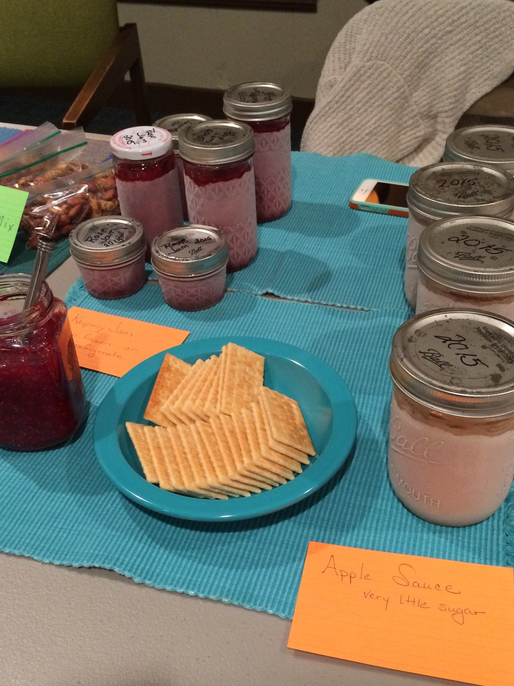 Freezer Raspberry Jam and lightly sweetened Applesauce from Swapper Carol was a beautiful example of preserving the local produce season's bounty.