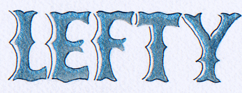 'Lefty'  retro letters in blue
