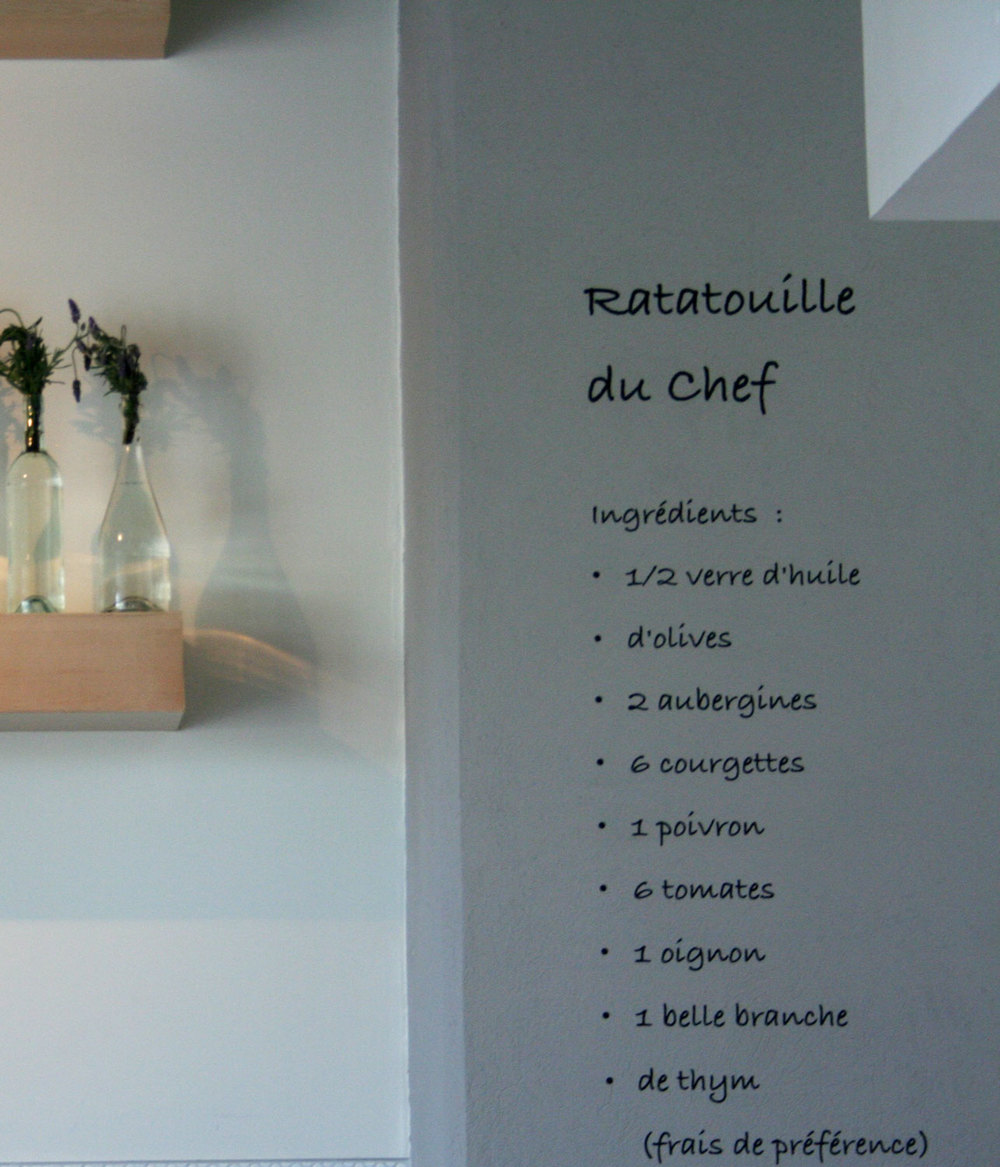 Detail of recipe; wall decal