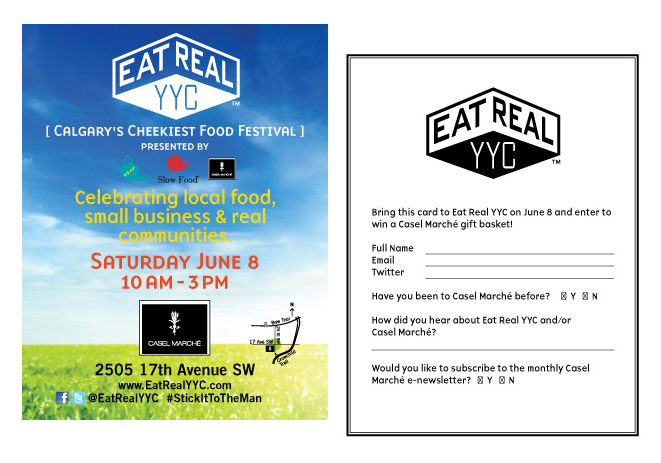 Postcards sent to surrounding communities before the Eat Real YYC street food festival.