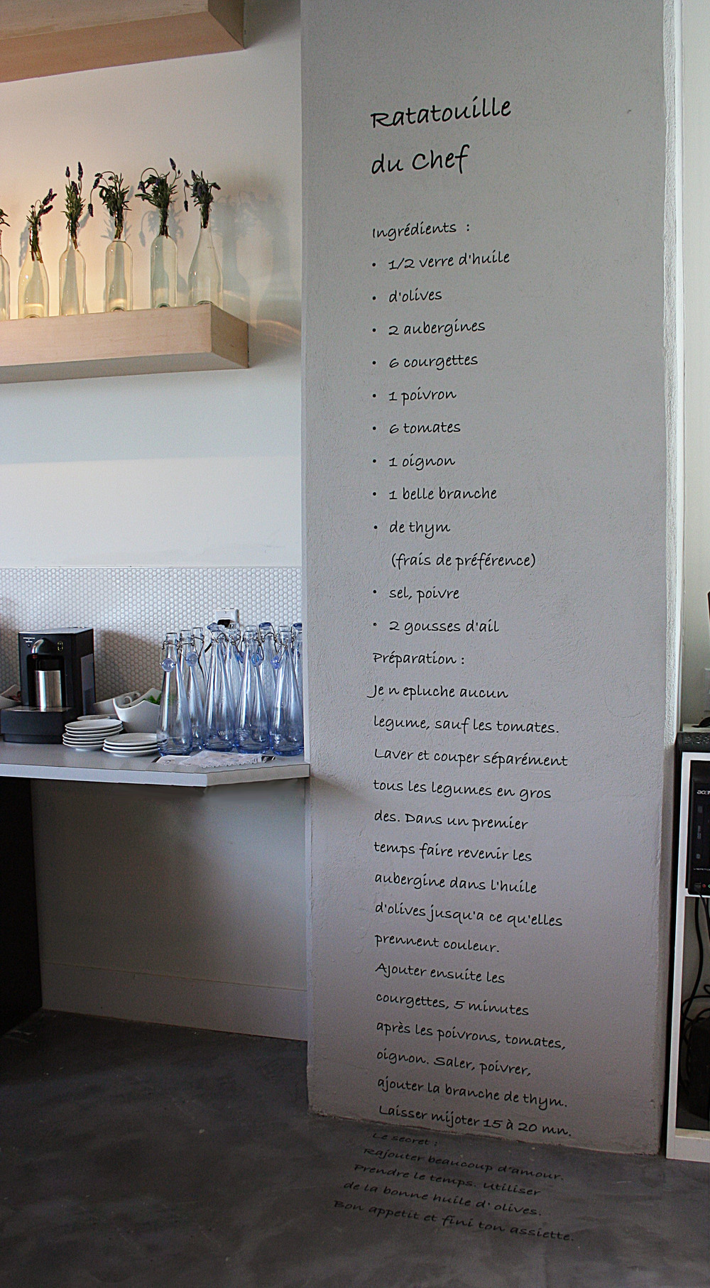 Wall decal of recipe