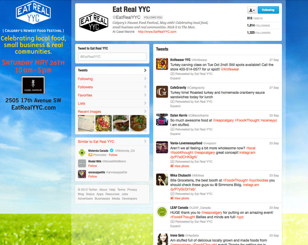 Eat Real YYC twitter page