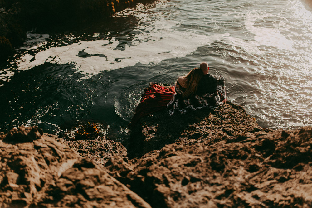 rocky beach engagement session