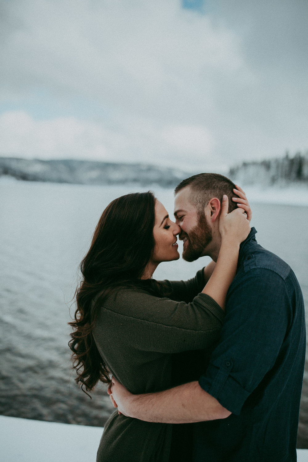 romantic snowy engagement