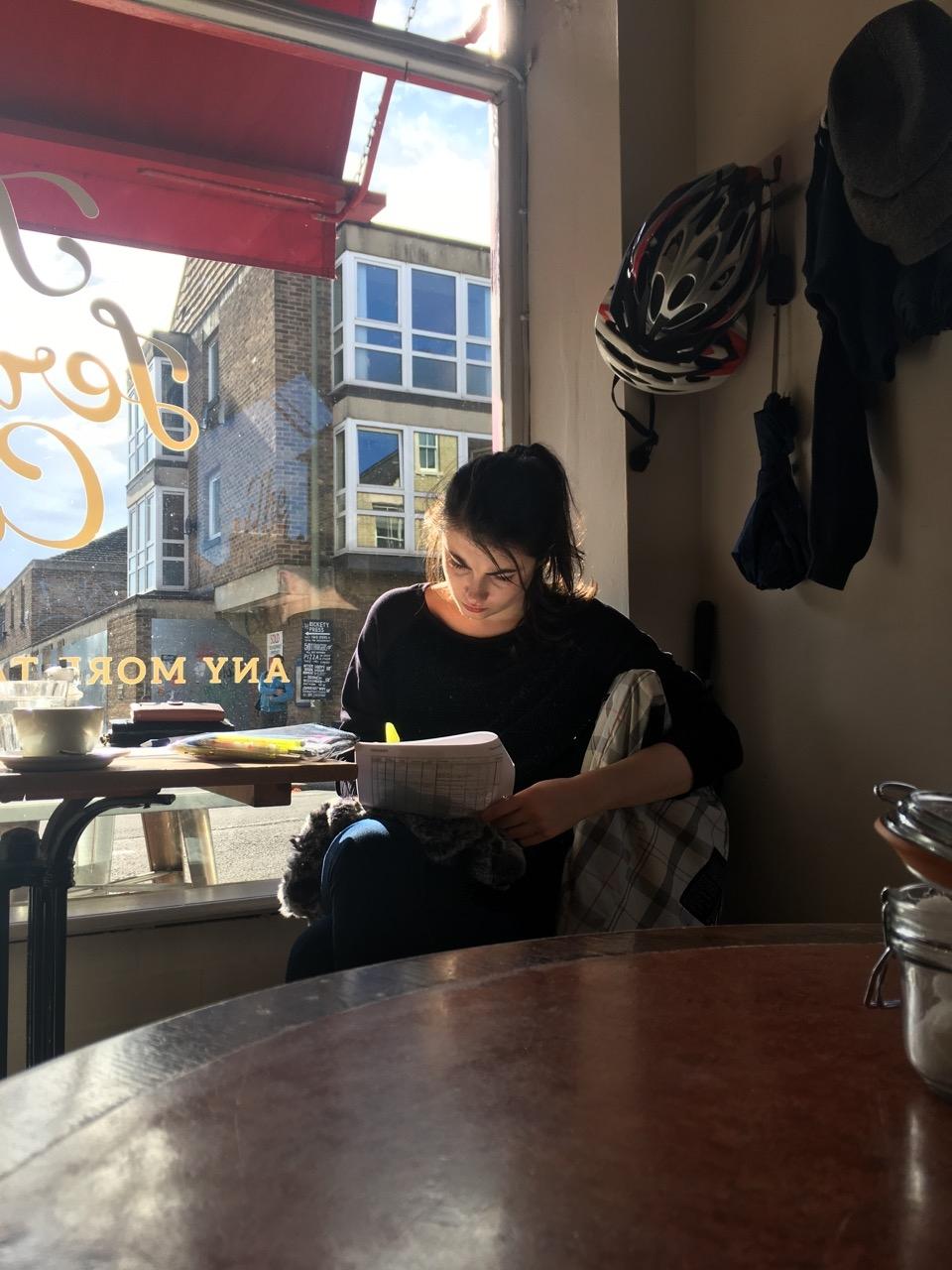 Girl in a café (Oxford)