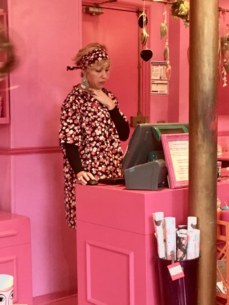 Inside a pink shop (Paris)