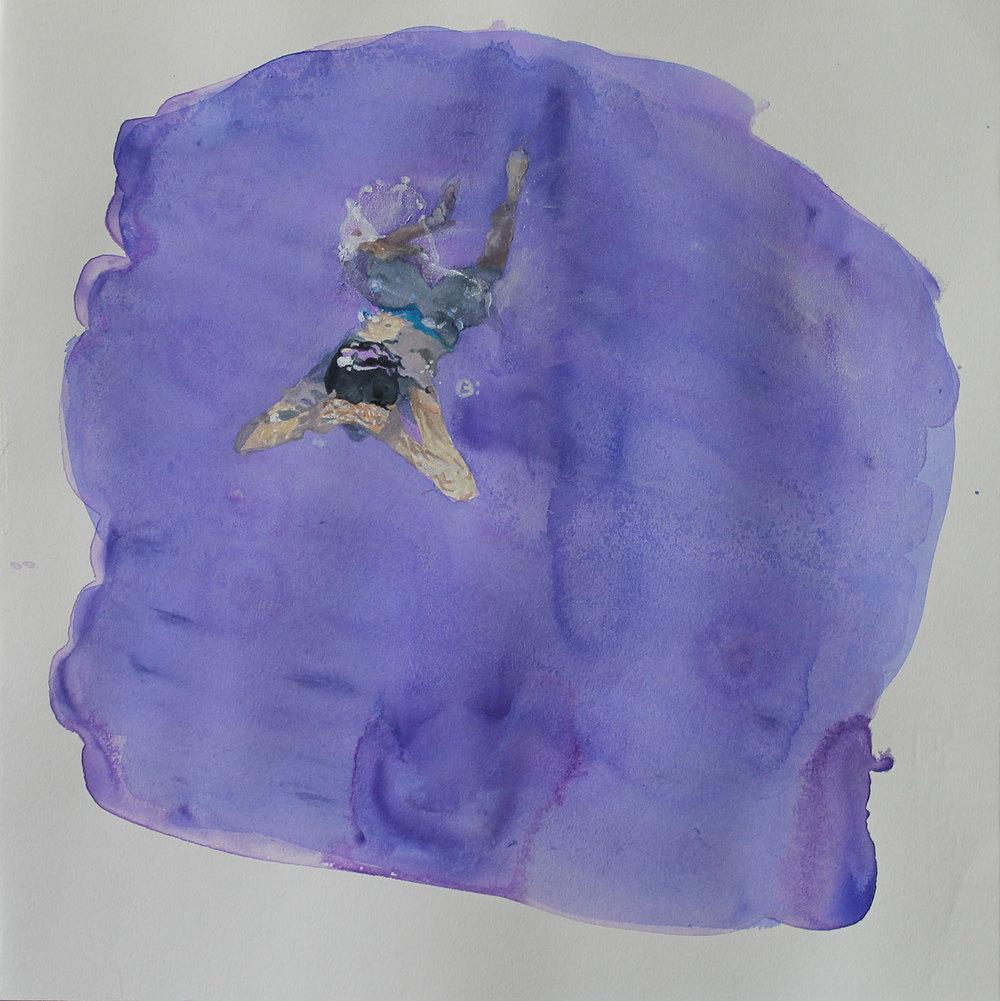 """""""Acuarela lila"""". 35 x 35 cm. Acuarela sobre papel. 2015. Disponible."""