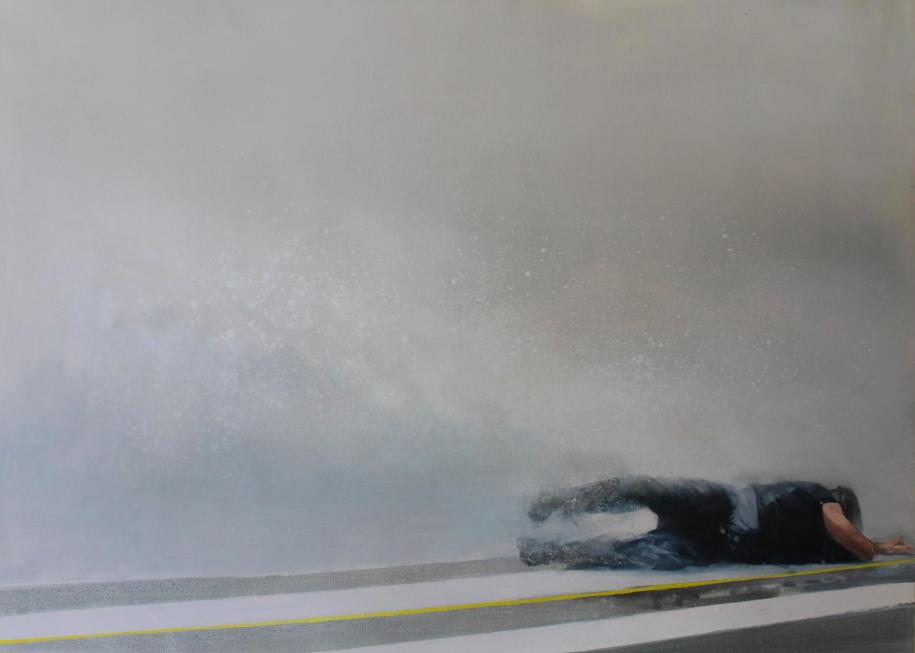 """""""Sobre la línea amarilla"""" 80 x 110 cms - 2013"""