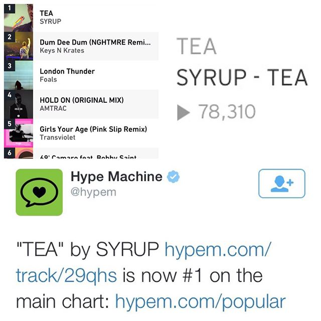 "I'm not super into posting stuff like this, but I felt the need to share this milestone in my life as a new female in the scene & a completely independent artist 🌞 my song ""syrup"" has caught fire in the last two days, and all of a sudden became #1 on @hypem!! my mixtape has been featured on almost 30 awesome blogs and I am overwhelmed with all the love from the music scene. thank you thank you thank you, and bless your hearts to the supportive people in my life, this is just the beginning, ☺️🙏💕"