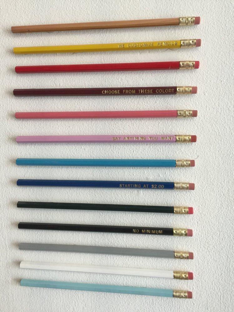 Cores de lápis disponíveis para customização