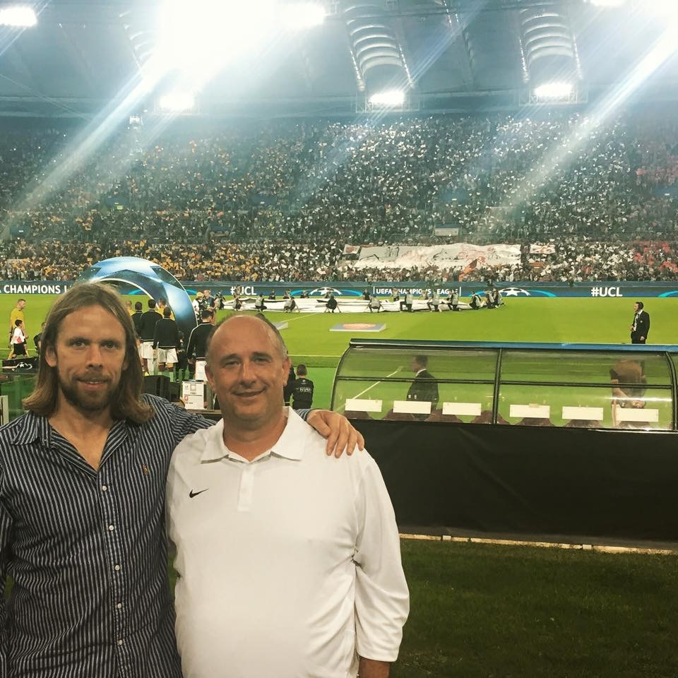 JON WITH AUSTIN MACPHEE (FOUNDER OF AM SPORTS TOURS) AT ROMA VS BARCELONA CHAMPIONS LEAGUE                                         GAME