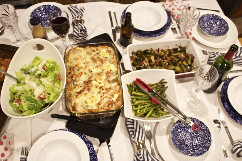 Baked ziti,  buttered asparagus, and bacon infused broccoli