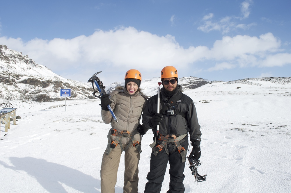 Luis & Sarah wearing the full ice climbing gear.