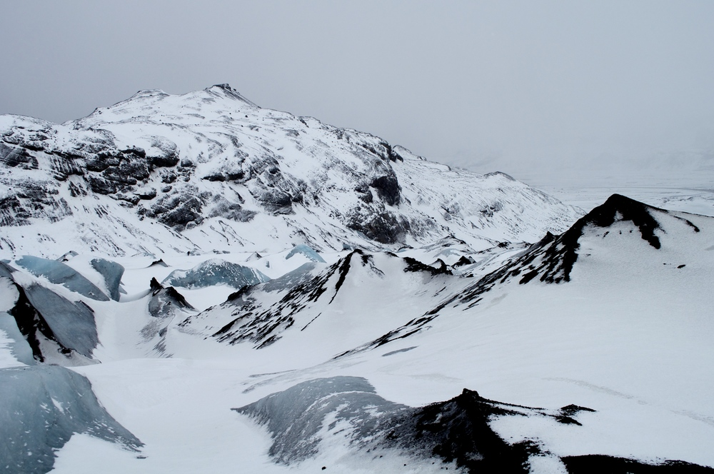 "The part of the glacier the guides call ""Mordor"" because other ashy peaks from past volcanic eruptions."
