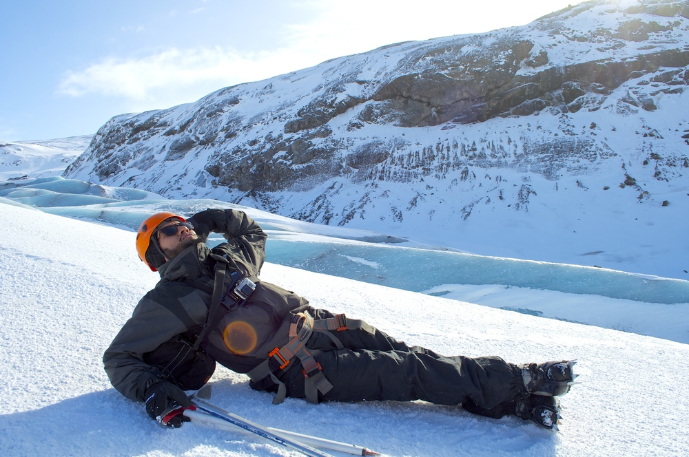 Luis lounging on Blue Ice Glacier.