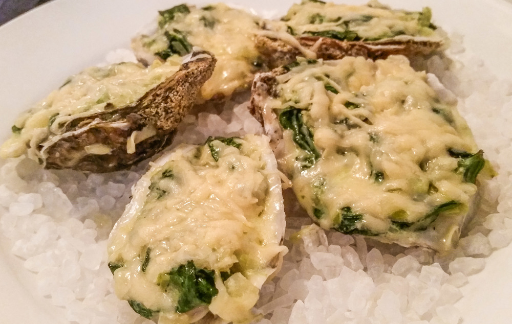 Oysters Rockefeller - Creamed leeks, fennel, spinach, Pernod, and paramesan