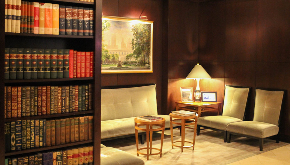 The lobby of the hotel is lined with hundreds of books on a large variety of topics.