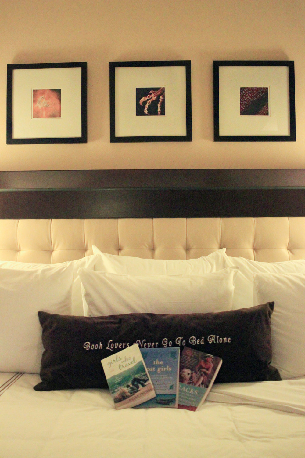 "The pillow reads ""Book lovers never go to bed alone."" Above are framed photos of fossils line the wall."