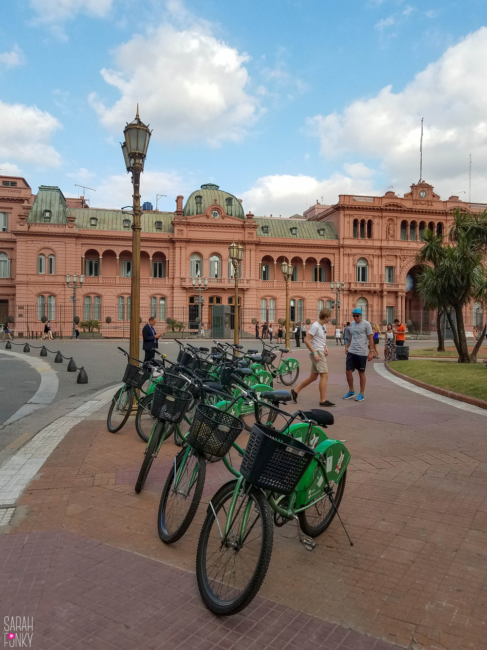 Bikes await as we sit in the grass gazing at the Casa Rosada