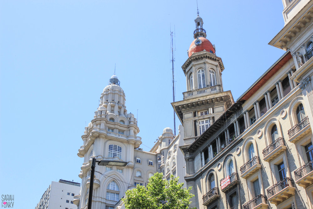 Spanish archetecture inspired buildings line the streets in the center of Buenos Aires city.