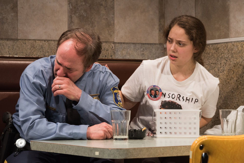 Matthew Lawler as Officer Dan, Rachel Franco as Tara. Photo credit: Russ Rowland