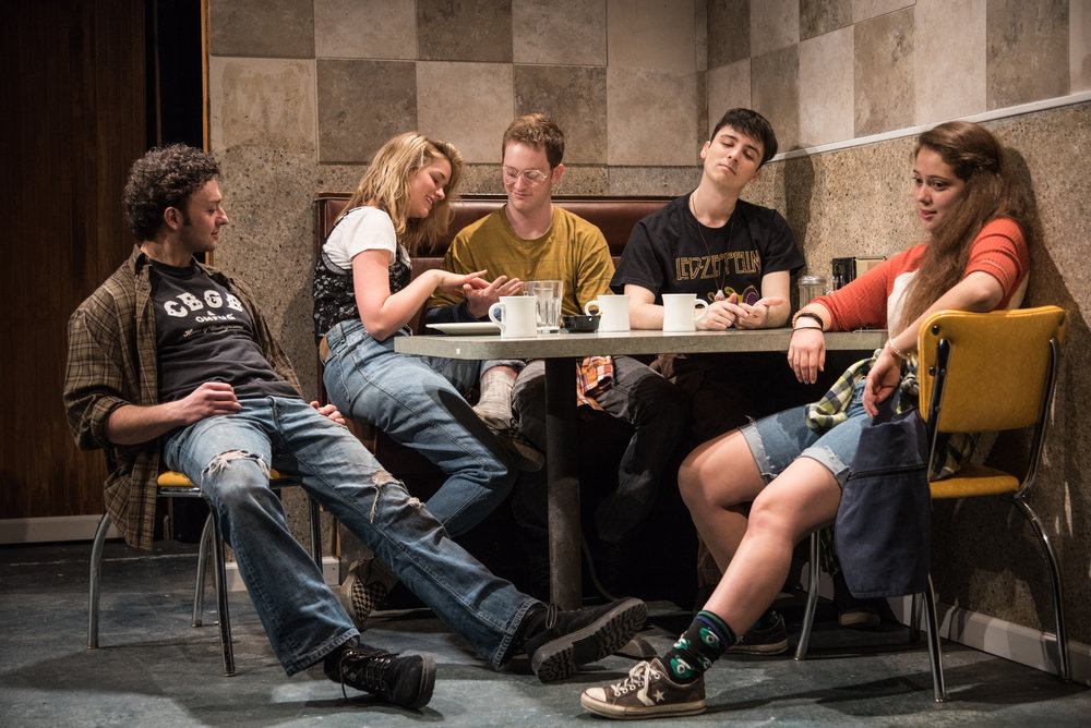 James Kautz as Adam, Elizabeth Lail as Hayley, Spencer Davis Milford as Matt, Sean Patrick Monahan as Pete, Rachel Franco as Tara. Photo credit: Russ Rowland