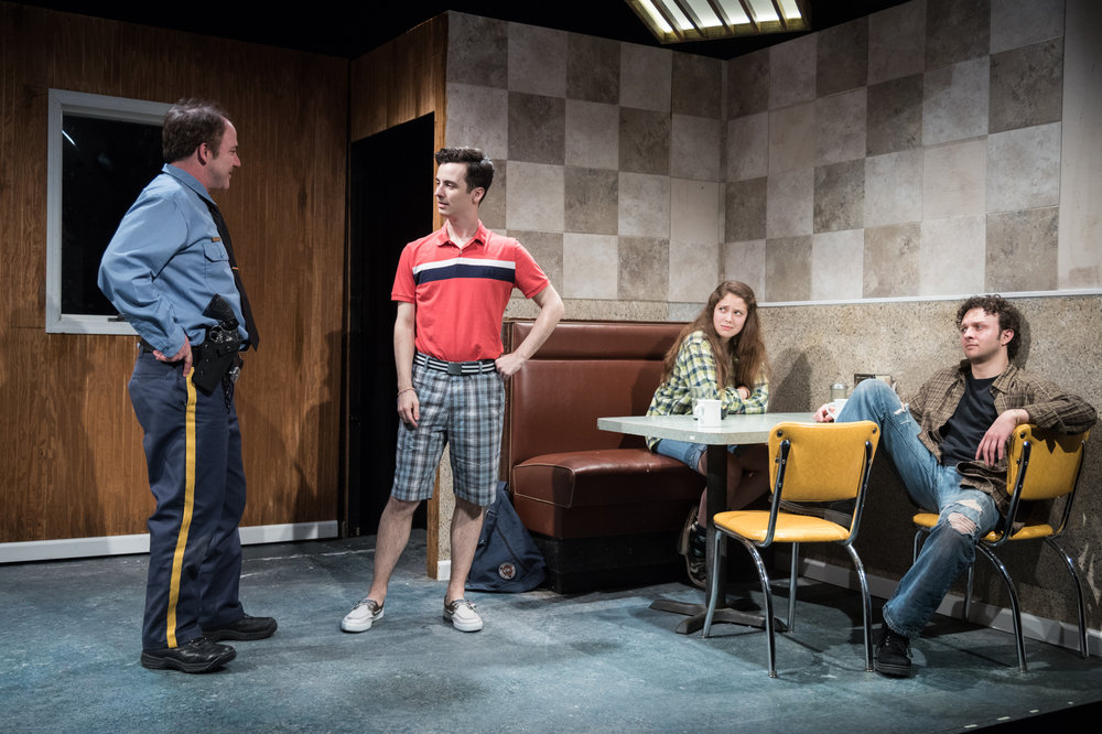 Matthew Lawler as Officer Dan, Sean Patrick Monahan as Pete, Rachel Franco as Tara, James Kautz as Adam. Photo credit: Russ Rowland
