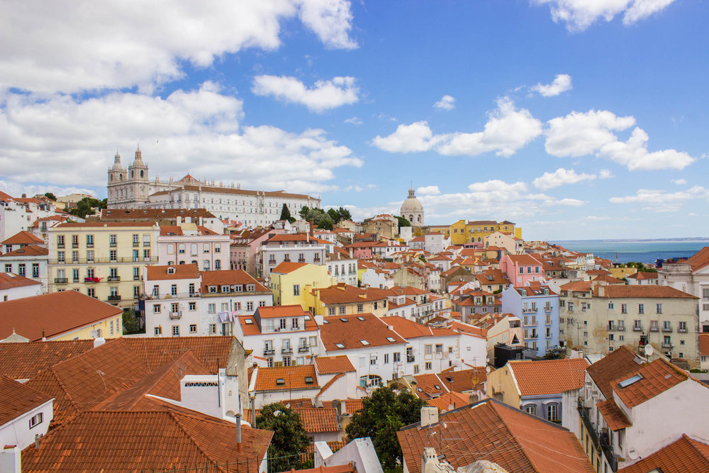 Panoramic views of Lisbon from the Baixa area
